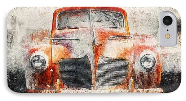 Painted 1940 Desoto Deluxe IPhone Case by Scott Norris