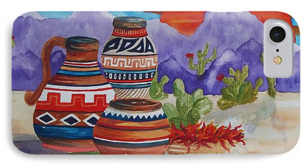 Painted Pots And Chili Peppers IPhone Case by Ellen Levinson
