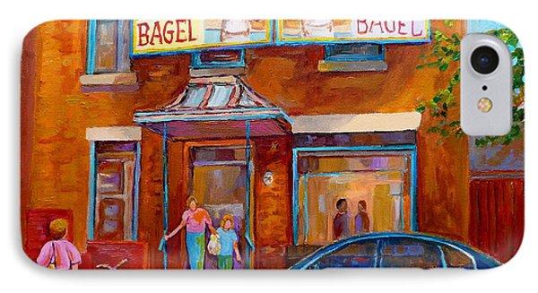 Paintings Of Montreal Fairmount Bagel Shop IPhone Case by Carole Spandau