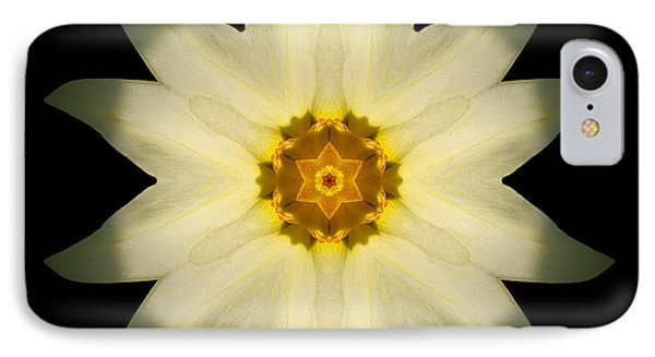 Pale Yellow Daffodil Flower Mandala Phone Case by David J Bookbinder
