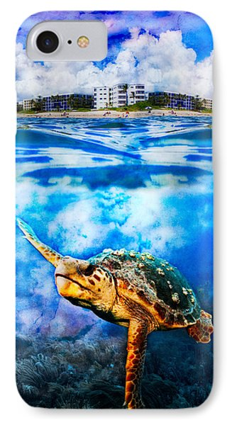 Palm Beach Under And Over Phone Case by Debra and Dave Vanderlaan