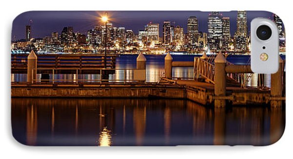 Panorama Of Downtown Seattle From Alki Beach - West Seattle Seacrest Park Washington State IPhone Case by Silvio Ligutti