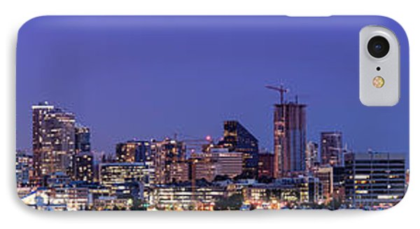 Panorama Of Downtown Seattle From Gasworks Park At Twilight Seattle - Washington IPhone Case by Silvio Ligutti
