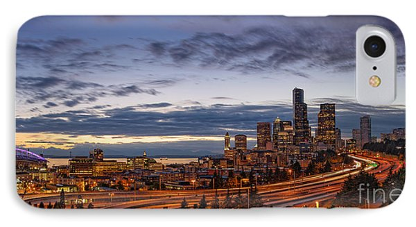 Panorama Of Downtown Seattle From Jose Rizal Park - Seattle Washington IPhone Case by Silvio Ligutti