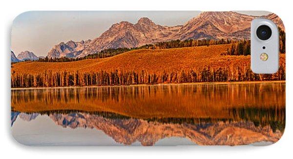 Panoramic Of Little Redfish Lake IPhone Case by Robert Bales