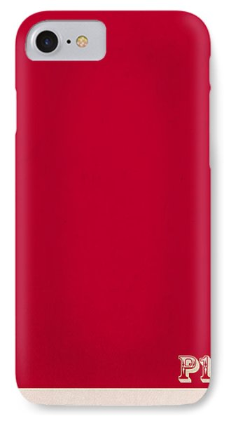 Pantone 186 Fire Engine Red Color On Worn Canvas IPhone Case by Design Turnpike