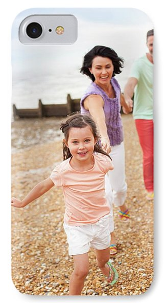 Parents Running On Beach With Daughter IPhone Case by Ian Hooton