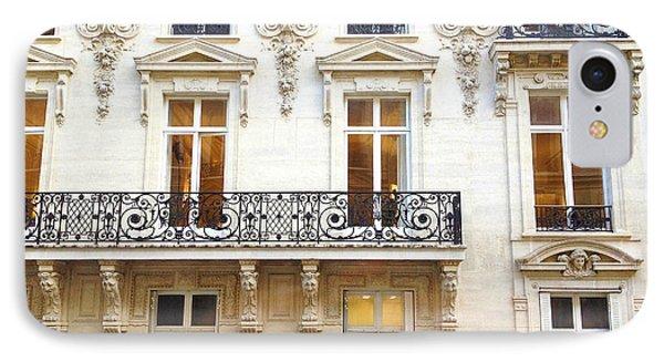 Paris Art Nouveau Winter White Lace Balconies Windows Door Architecture - Paris Window Art IPhone Case by Kathy Fornal