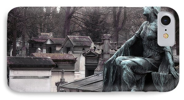 Paris Cemetery Art Sculptures - Female Grave Mourning Figure Monument - Montmartre Cemetery IPhone Case by Kathy Fornal