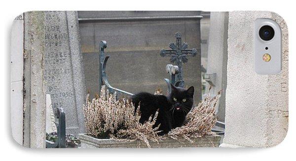 Paris Cemetery Cat - Le Chats Noir - Pere Lachaise - Black Cat On Grave Cemetery Art IPhone Case by Kathy Fornal