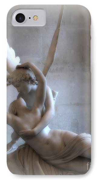 Paris Eros And Psyche Angels Louvre Museum - Paris Angel Art - Paris Romantic Eros And Psyche Art  IPhone Case by Kathy Fornal