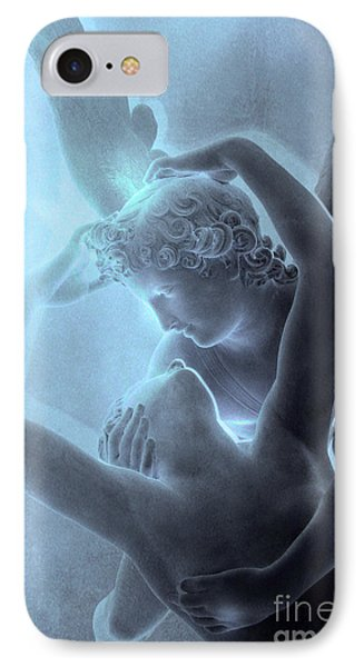 Paris Eros And Psyche - Louvre Sculpture - Paris Romantic Angel Art Photography IPhone Case by Kathy Fornal