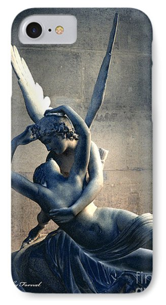 Paris Eros And Psyche Romantic Lovers - Paris In Love Eros And Psyche Louve Sculpture  IPhone Case by Kathy Fornal