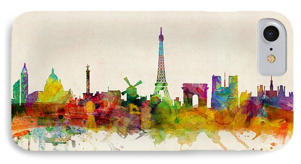 Paris France Skyline Panoramic IPhone 7 Case by Michael Tompsett
