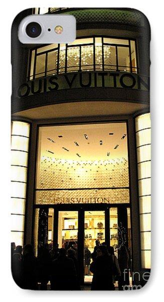 Paris Louis Vuitton Boutique Store Front - Paris Night Photo Louis Vuitton - Champs Elysees  IPhone Case by Kathy Fornal