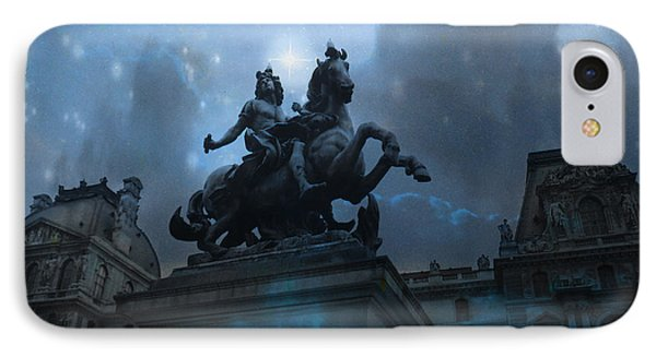 Paris Louvre Museum Blue Starry Night - King Louis Xiv Monument At Louvre Museum IPhone 7 Case by Kathy Fornal