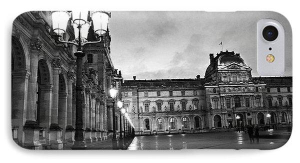 Paris Louvre Museum Lanterns Lamps - Paris Black And White Louvre Museum Architecture IPhone Case by Kathy Fornal