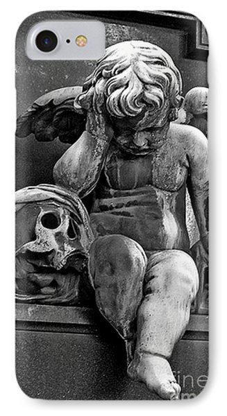 Paris Pere Lachaise Cemetery- Cherub Gothic Angel With Skull IPhone Case by Kathy Fornal