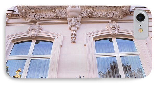 Paris Romantic Windows Balcony Architecture - Paris Art Nouveau Pink Black Ornate Window Balcony Art IPhone Case by Kathy Fornal