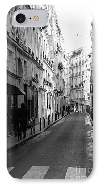 Paris Rue St. Honore Street Art Deco - Paris Black And White Street Architecture IPhone Case by Kathy Fornal