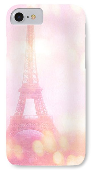 Paris Shabby Chic Romantic Dreamy Pink Eiffel Tower With Hot Air Balloon IPhone Case by Kathy Fornal
