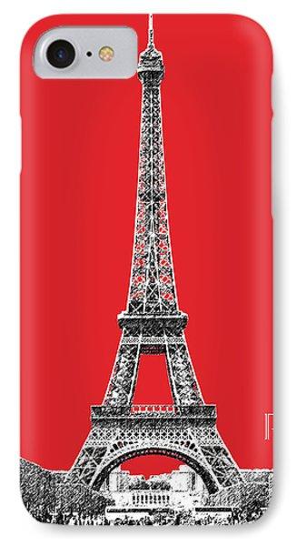 Paris Skyline Eiffel Tower - Red IPhone Case by DB Artist