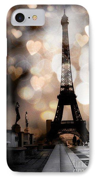 Paris Surreal Fantasy Sepia Black Eiffel Tower Bokeh Hearts And Circles - Paris Sepia Fantasy Nights IPhone Case by Kathy Fornal