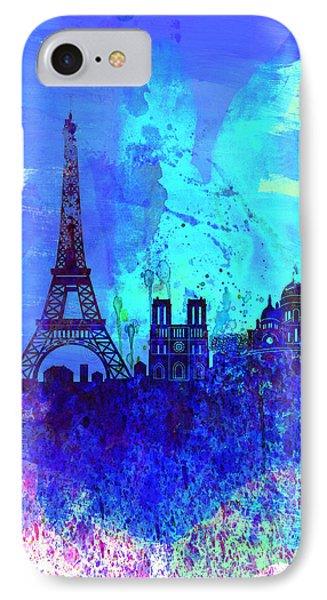 Paris Watercolor Skyline IPhone Case by Naxart Studio