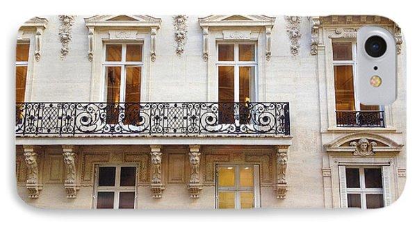 Paris Windows Balconies Winter White Black - Paris Art Nouveau Window Door Architecture Lace Balcony IPhone Case by Kathy Fornal