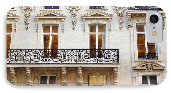 Paris Windows And Balconies - Winter White And Black Paris Windows Building Architecture Art Nouveau IPhone Case by Kathy Fornal