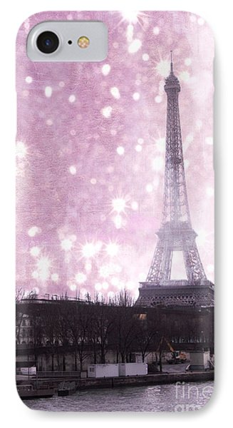 Paris Winter Eiffel Tower - Dreamy Surreal Paris In Pink Eiffel Tower Snow Winter Landscape IPhone Case by Kathy Fornal