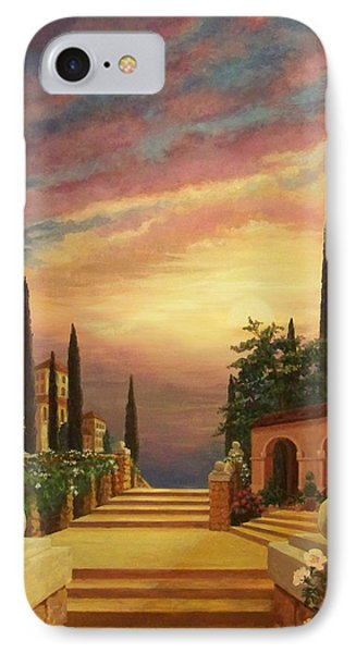 Patio Il Tramonto Or Patio At Sunset IPhone Case by Evie Cook