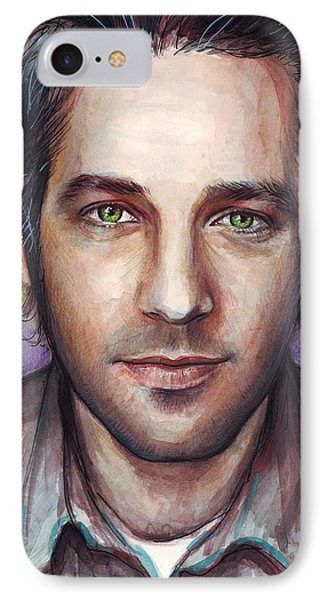 Paul Rudd Portrait IPhone Case by Olga Shvartsur