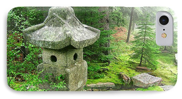 Peaceful Japanese Garden On Mount Desert Island IPhone Case by Edward Fielding