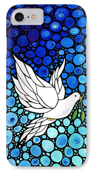 Peaceful Journey - White Dove Peace Art IPhone 7 Case by Sharon Cummings