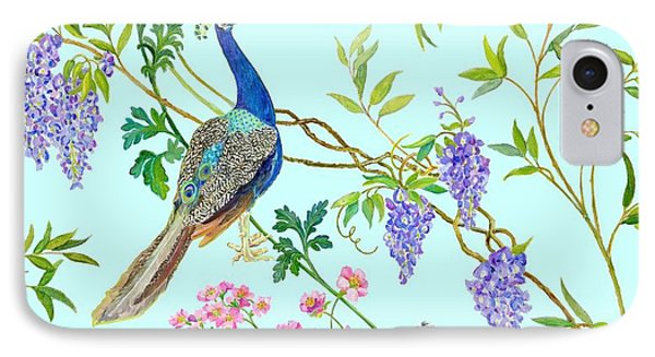 Peacock Chinoiserie Surface Fabric Design IPhone Case by Kimberly McSparran