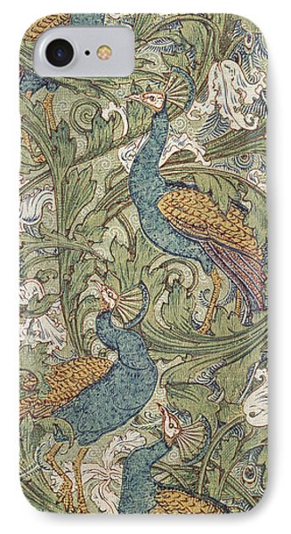 Peacock Garden Wallpaper IPhone Case by Walter Crane