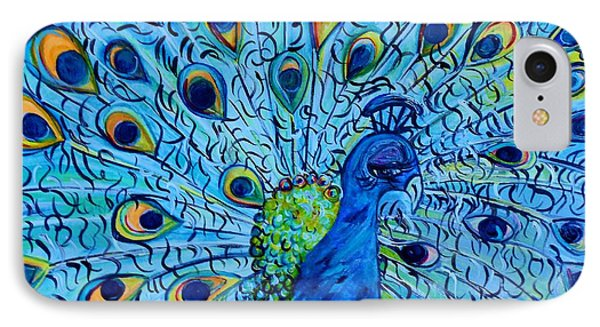 Peacock On Blue Phone Case by Eloise Schneider