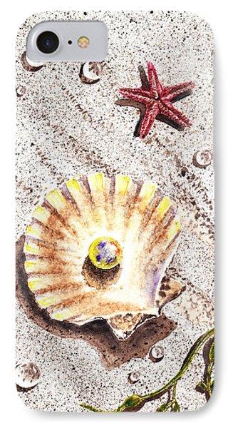 Pearl In The Seashell Sea Star And The Water Drops Phone Case by Irina Sztukowski