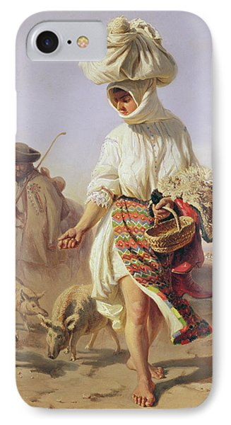 Peasant Girl Feeding Pigs IPhone Case by Karoly Sterio