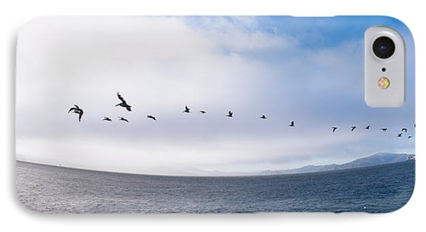 Pelicans Flying Over The Sea, Alcatraz IPhone Case by Panoramic Images