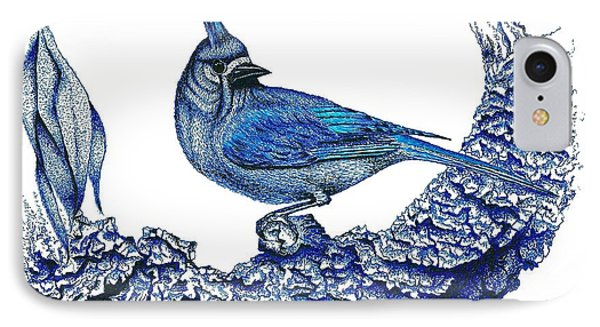 Pen And Ink Drawing Of Small Blue Bird  Phone Case by Mario Perez