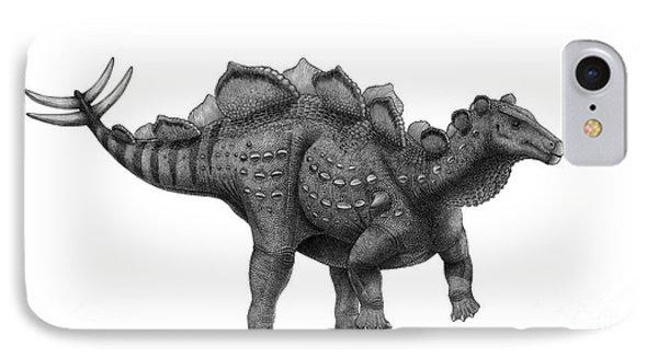 Pencil Drawing Of Wuerhosaurus Homheni IPhone Case by Vladimir Nikolov