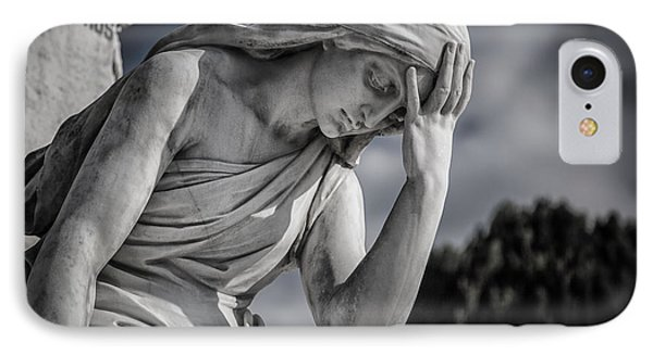 Pensive Angel At Heredia Cemetery IPhone Case by Andres Leon