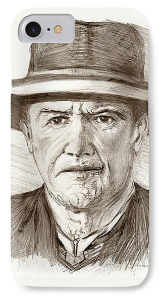 People Of Old West A Pencil Drawing In Black And White  Phone Case by Mario Perez