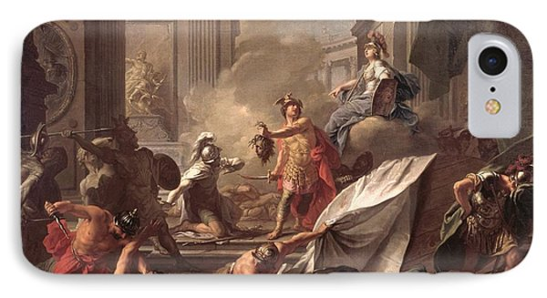 Perseus, Under The Protection Of Minerva, Turns Phineus To Stone By Brandishing The Head Of Medusa IPhone Case by Jean-Marc Nattier