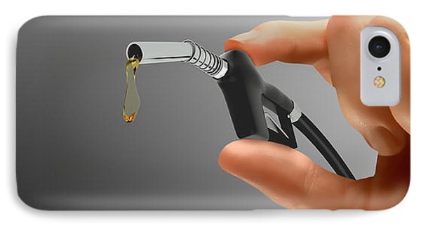 Persons Hand Holding Tiny Gas Pump IPhone Case by Panoramic Images