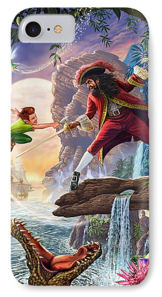 Peter Pan And Captain Hook IPhone Case by Steve Crisp