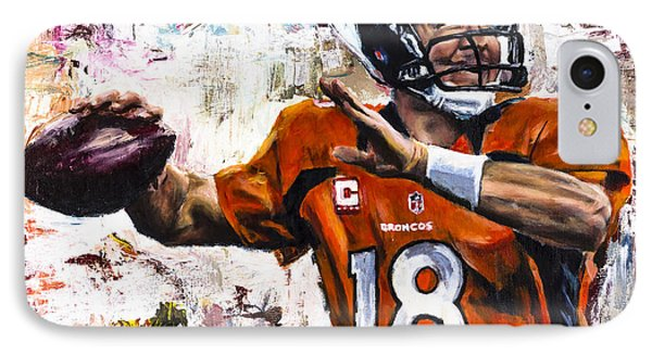 Peyton Manning IPhone 7 Case by Mark Courage
