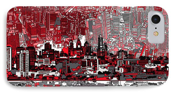 Philadelphia Skyline Abstract 4 IPhone Case by Bekim Art